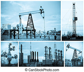 Oil industry. - Oil, gas industry. Collage. Monochrome.