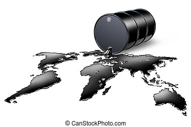 Oil Industry with a black drum barrel pouring and spilling...