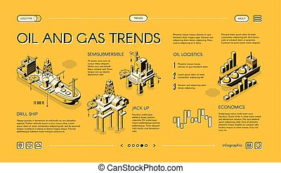 Oil industry trends landing page isometric vector - Oil and...