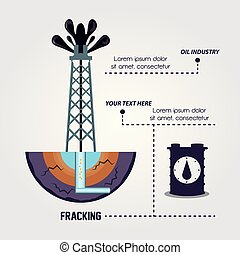 oil industry with fracking process vector illustration...