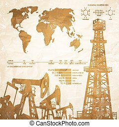 Oil infographics. - Oil industry infographics over old paper...