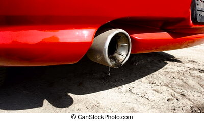 oil is flying out of the exhaust pipe