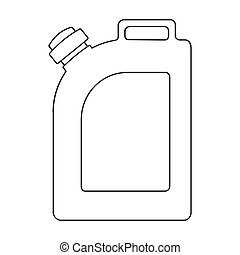 Oil jerrycan icon in outline style isolated on white background. Oil industry symbol stock bitmap, rastr illustration.