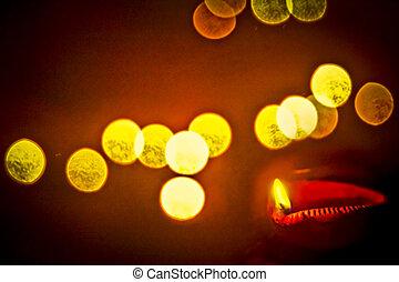 Oil Lamp, Diya during Diwali Festival, India