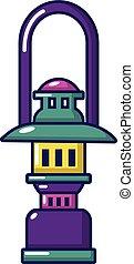 Oil lamp icon, cartoon style
