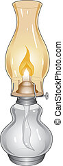 Oil Lamp - Illustration of a burning oil lamp or lantern.