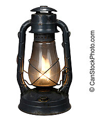 Lit Antique oil lamp with clipping path over white background