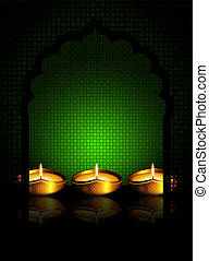 oil lamp with  place for diiwali diya greetings