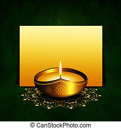oil lamp with place for diwali greetings over dark  background