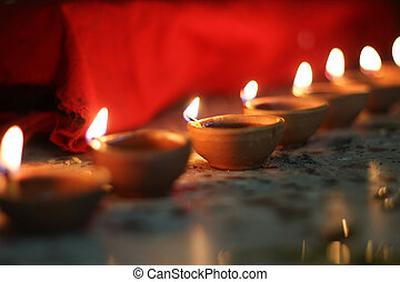 oil lamps on diwali festival - traditional oil lamps on...