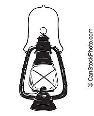 Oil lantern or kerosene lamp vector illustration -...