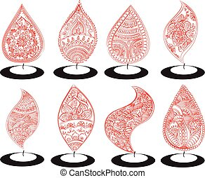 oil lit lamp set with henna patterns