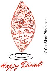 oil lit lamp with henna patterns