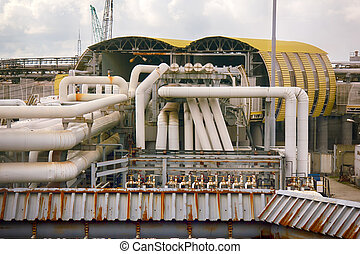 oil station gasoline fuel at the rail road depot