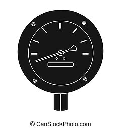 Oil manometer icon in black style isolated on white background. Oil industry symbol stock bitmap, rastr illustration.