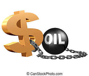 A dollar sign attached to a ball and chain symbolizing the constraints on the dollar by the oil markets