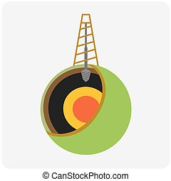 Oil mining site with drilling tower on a Earth. Flat design ...