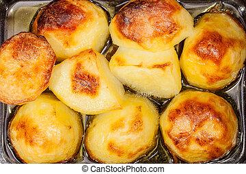 oil., nourriture, maison, chaud, pommes terre, cooking., ...