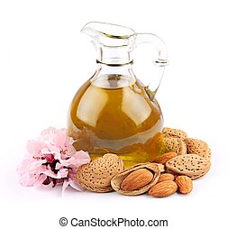 oil of almond nutisolated on white background