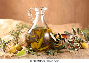 oil olive bottle with branch