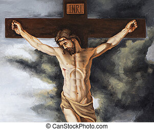 oil on canvas representing Jesus on the cross