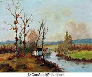 Oil on Canvas - Oil on canvas impressionist landscape