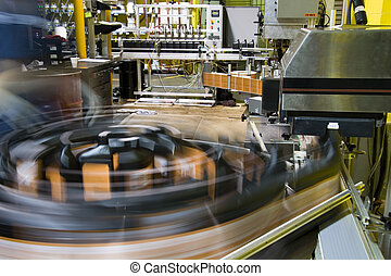 Turntable of bottling line at a lubricant manufacturing facility