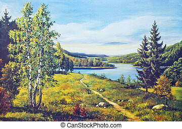 Oil painted autumn river and forest  landscape