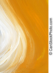 Oil-painted brush strokes texture - Texture of yellow and...