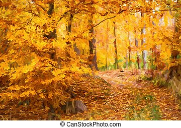 Oil painting autumn landscape with autumn leaves in forest.