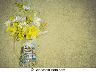 Daisies and daffodils in old oil can with textured overlay.