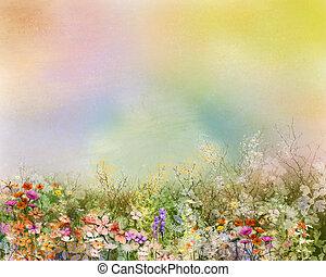 Абстрактная картина маслом цветы растения. Фиолетовый космея, белая маргаритка, василек, полевой цветок, цветок одуванчика в поле. Ручная роспись цветочного луга и желтый фон. Весенний цветочный фон природы.