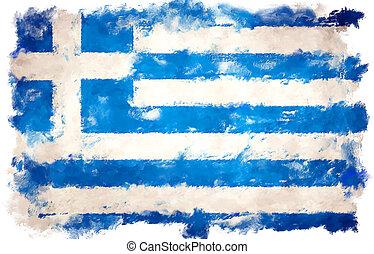 oil painting grunge effected illustration of GREECE flag