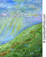 Oil painting hill landscape with road, wildflowers, sky, clouds and sunbeams