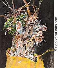 oil painting illustrating a bouquet of withered flowers in a vase on black background