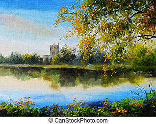Oil painting landscape - castle near lake, tree over the water, bright colors, made in the style of Impressionism