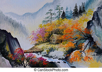 oil painting - landscape in mountains, house in the mountains, forest
