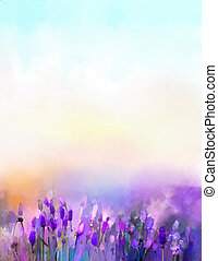 Oil painting lavender flowers in the meadows. Abstract oil painting sunshine at flower field in soft purple color and blur style with bokeh background