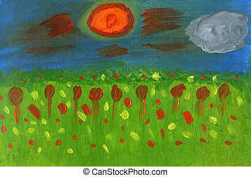 Oil painting meadow landscape with wildflowers, sky, cloud and sun
