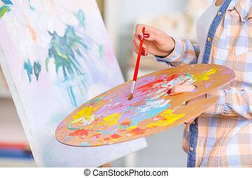 oil-painting., niña, ocupado, joven