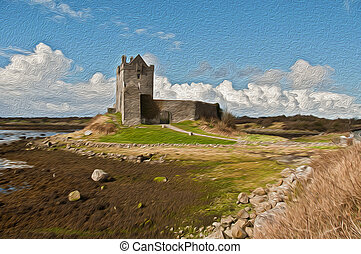 oil painting of an irish castle by the sea