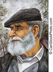 oil painting of an old man with a beard