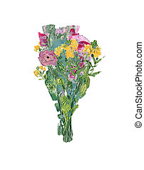Oil painting of wild flower bouquet isolated on white...