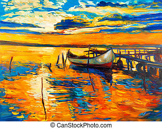 Oil painting - Original oil painting of boat and jetty(pier...