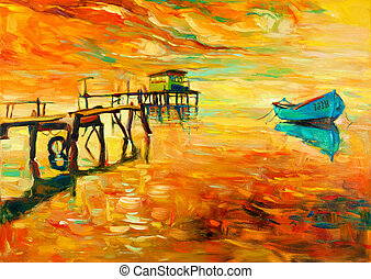 Original oil painting of boat and jetty(pier) on canvas. Sunset over ocean. Modern Impressionism