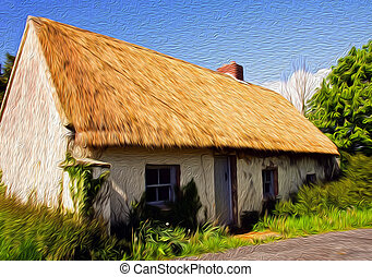oil painting rural cottage in west of ireland farm