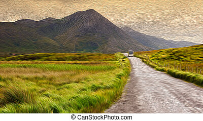oil painting showing a rural irish landscape