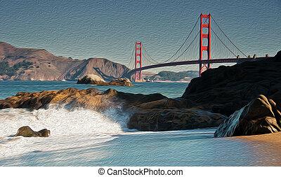 oil painting showing beautiful san francisco golden gate bridge