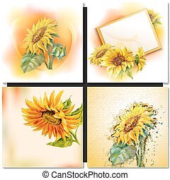 Oil painting. Sunflower