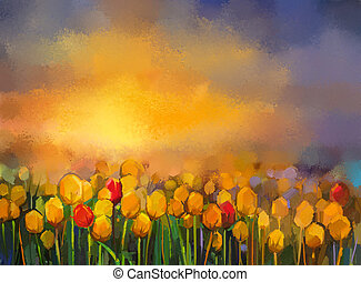 Oil painting yellow and red Tulips flowers field. Landscape - Flowers field at sunset with orange and purple sky. Spring flowers nature background
